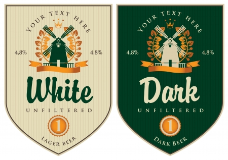 two labels for dark and white beer with mill Vector