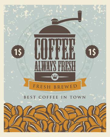 granos de cafe: bandera con un molinillo de caf� y granos Vectores