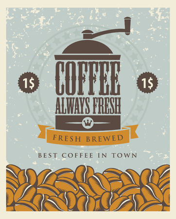 coffee and beans: banner with a coffee grinder and beans Illustration