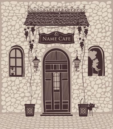 Eingang zur Stadt-Café mit einer Veranda und Trauben