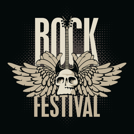 poster for a rock festival with skull, guitar and wings 矢量图像