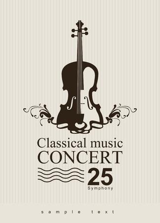 affiche voor een concert van klassieke muziek met viool Stock Illustratie