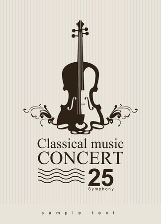cello: poster for a concert of classical music with violin Illustration