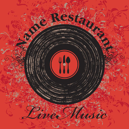 musical cafe menu with cutlery and vinyl records on a red background Vector