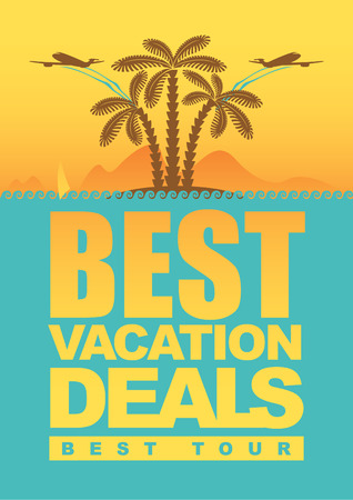 best deals for holiday  banner with an island with palm trees and airplanes Vector