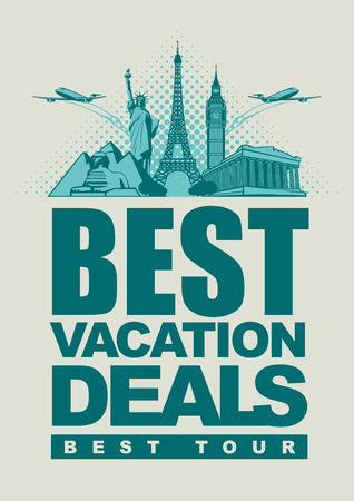 banner best offers for traveling with architectural landmarks Vector