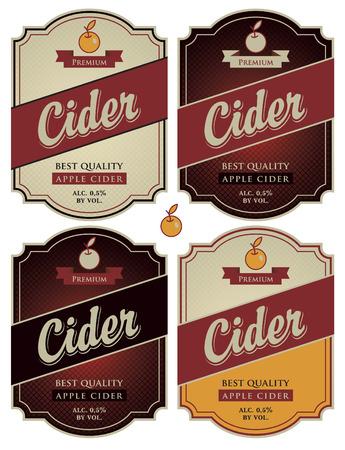 manzana: Conjunto de cuatro etiquetas de vector para sidra Vectores