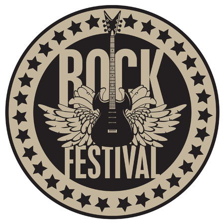 live entertainment: round banner with the guitar for a rock festival Illustration
