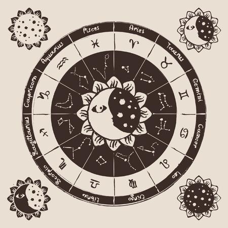 zon en maan: zodiac met de zon, de maan en sterrenbeelden Stock Illustratie
