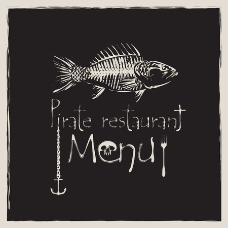 banner for pirate restaurant with a skeleton fish and anchor Vector