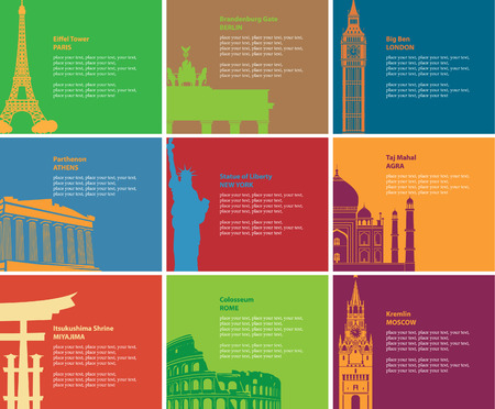 india gate: set of banners with different historical sites Illustration