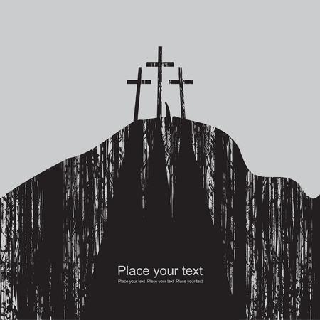 viernes santo: monta�a con tres cruces y una figura solitaria Vectores