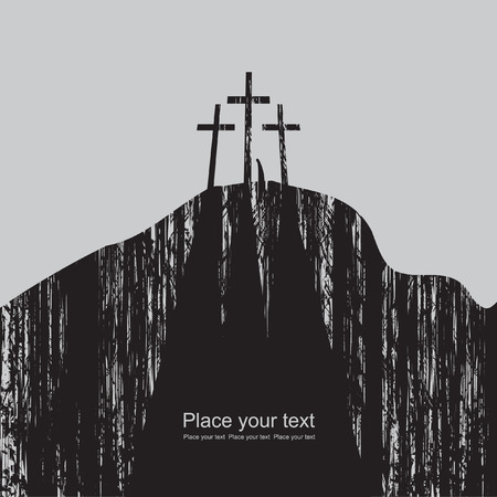 sinner: mountain with three crosses and a lone figure