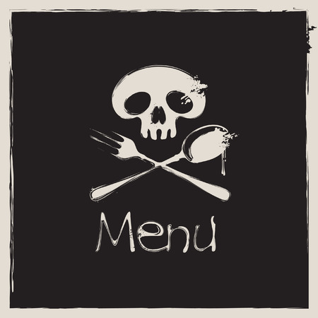 stoneware: Cover for a menu with a human skull with a spoon and fork