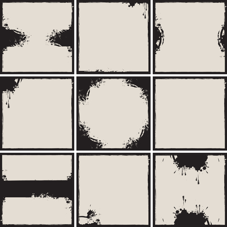 set of vector frames with splashes and drips and stains Vector