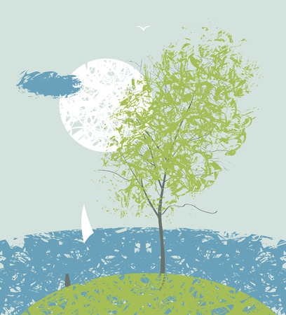 spring landscape with tree and sea-shore sailing boat Vector