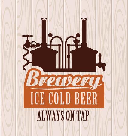 banner met foto van de brouwerij op de achtergrond van houten planken Stock Illustratie