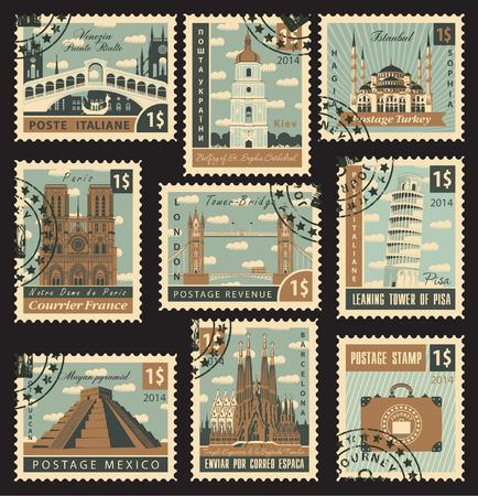 set van postzegels met architectonische historische plaatsen Stock Illustratie