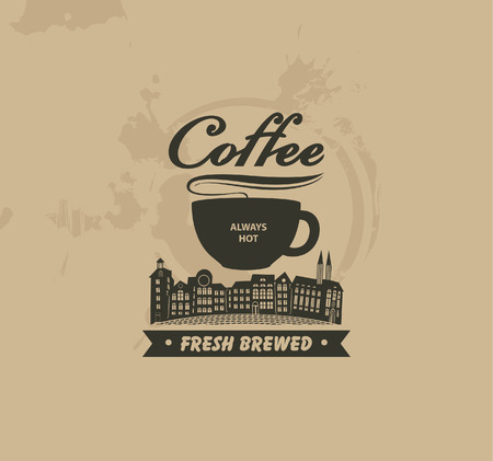 coffee house: banner with a cup of coffee and the old town on the background of spotty background