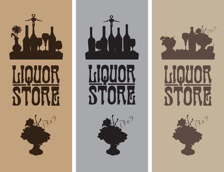 bodegones: tres banderas de la tienda de bebidas alcoh�licas con naturalezas muertas