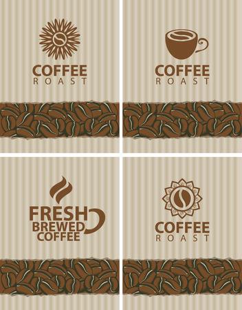 granos de cafe: conjunto de etiquetas para los granos de caf� Vectores