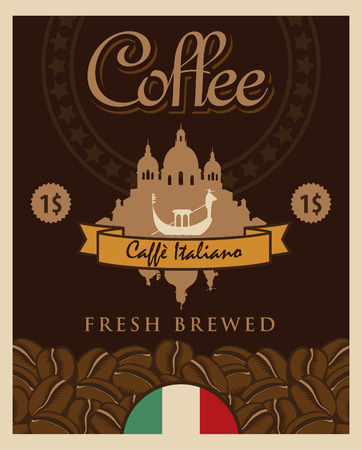 banner with coffee grains and a view of Venice with gondola Vector