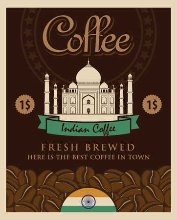 coffee grains: banner with coffee grains and view with picture of the Taj Mahal