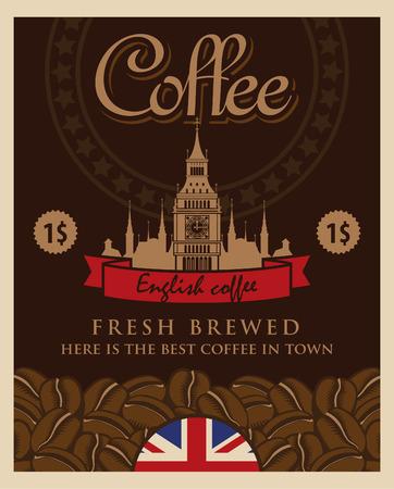 grains of coffee: bandera con los granos de caf� y una vista del Big Ben y London