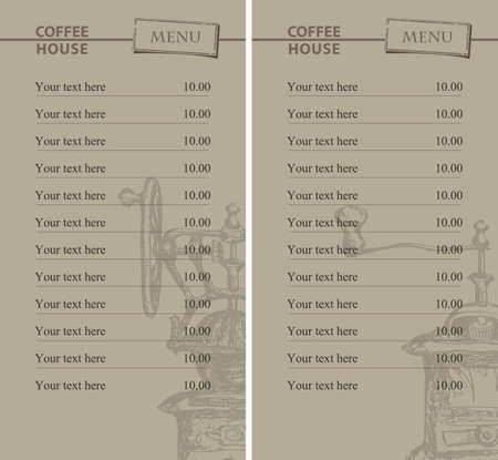 set of prices for coffee house Vector