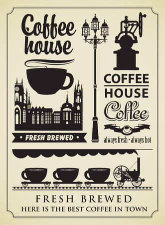 Conjunto de elementos de diseño sobre el tema del café Foto de archivo - 26673667