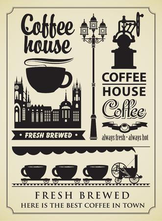set van design elementen op het gebied van koffie