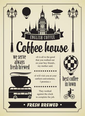 föremål: Uppsättning designelement på temat kaffe och symboler i London