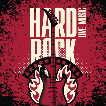 banner for the concert Hard rock with an electric guitar on fire Vector