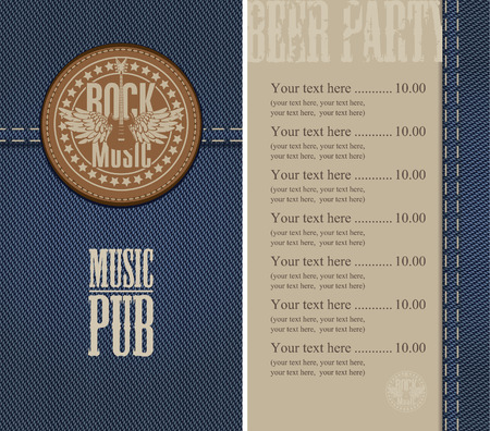 menu and price for the pub with live music Vector