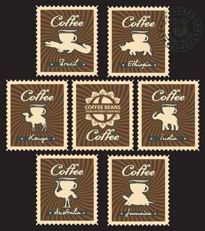 chicchi di caff�: I chicchi di caff� provenienti da diversi paesi Vettoriali