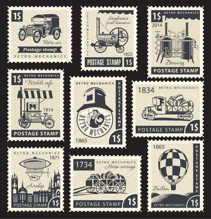 number plate: Set of stamps with a retro mechanics