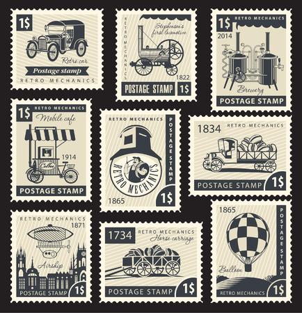 Conjunto de sellos con un retro mecánica