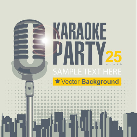 banner with microphone for karaoke parties over modern city background