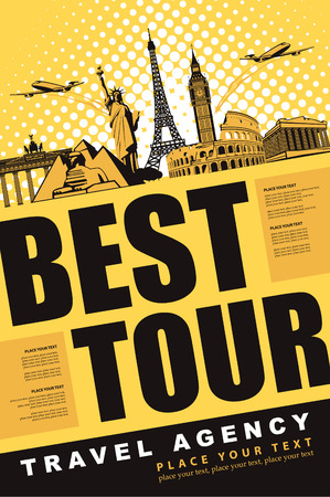 banner best tour for traveling with architectural landmarks Vector