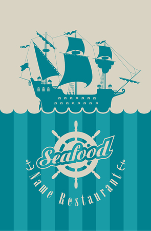 menu for the seafood restaurant with military sailing, steering wheel and anchor Vector