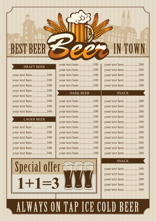 retro beer pub menu for the Price Vector