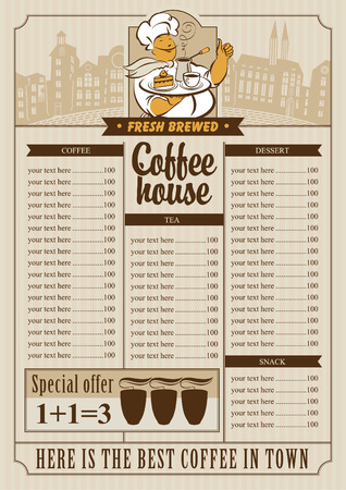 savor: menu list for coffee house with a cup and waiter