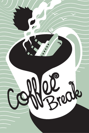 Titanic sinking in a cup of coffee Vector