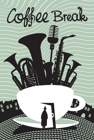 cup of coffee and musical instruments Vector