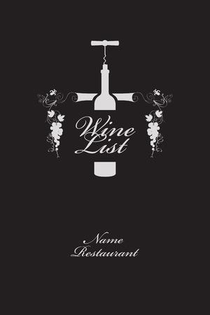 menu avec une bouteille de vin et un ornement dans le style moderne Vecteurs