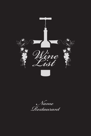 menu with a bottle of wine and an ornament in the modern style Vector