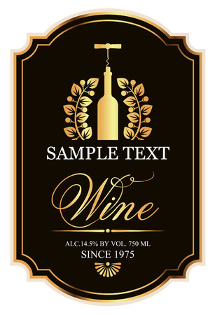 barroco: negro y oro etiqueta con una botella de vino y un sacacorchos en la corona de laurel Vectores