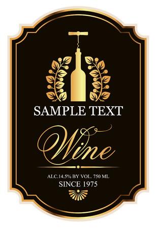 zwart en goud label met een fles wijn en een kurkentrekker in de lauwerkrans