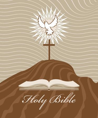 viernes santo: Cruz del Calvario con una paloma y la biblia