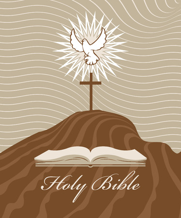 Calvary cross with a dove and bible Illustration